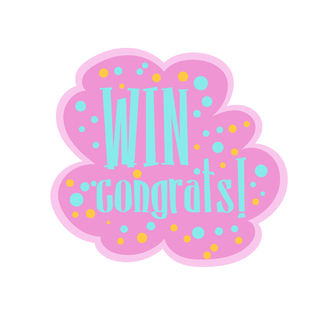 Pink And BLue Win Congratulations Sticker Design Template For Video Game Winning Finale. Graphic Flat Vector Message With Text Saying Win! Congrats And Victory Symbols