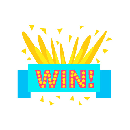 finale: Win Congratulations Sticker With Blue Ribbon Design Template For Video Game Winning Finale. Graphic Flat Vector Message With Text Saying Win! Congrats And Victory Symbols