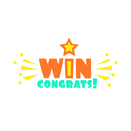 finale: Win Congratulations Sticker With Star And Sparks Design Template For Video Game Winning Finale. Graphic Flat Vector Message With Text Saying Win! Congrats And Victory Symbols