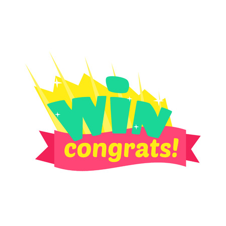 Win Congratulations Sticker Design With Green Letters And Red Ribbon Template For Video Game Winning Finale. Graphic Flat Vector Message With Text Saying Win! Congrats And Victory Symbols