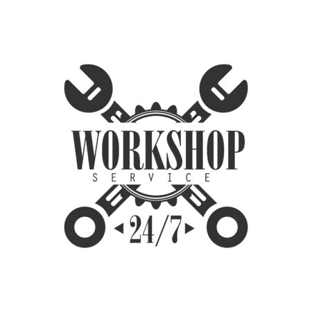 Round The Clock Car Repair Workshop Black And White Label Design Template With Crossed Wrenches. Monochrome Vector Emblem For Auto Mechanic Service In Classic Stamp Style. 向量圖像