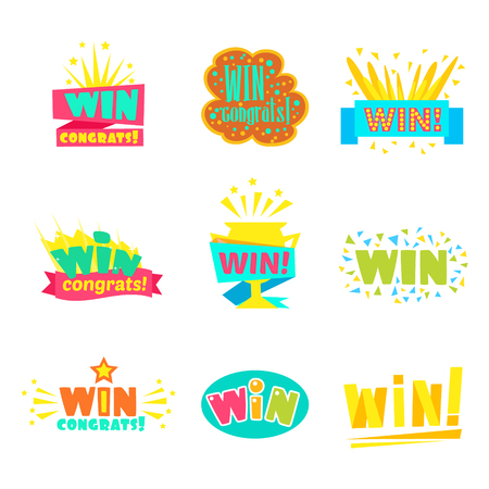 finale: Win Congratulations Stickers Collection Of Comic Designs For Video Game Winning Finale. Set Of Graphic Flat Vector Messages With Text Saying Win! Congrats And Victory Symbols Illustration