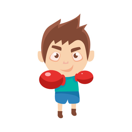 Boy Sportsman Boxing Part Of Child Sports Training Series Of Vector Illustrations. Cute Kid Character And Sportive Practice Cartoon Isolated Icon.
