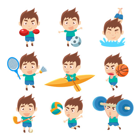 Kid sportman doen verschillende soorten sport Verzameling illustraties. Kleurrijke Vectorstickers met Sportieve Jongen die Assortiment van Trainingsoefeningen doen.