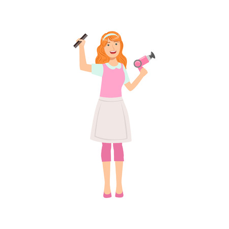 Woman Hairdresser With Hairdryer And Comb, Part Of Happy People And Their Professions Collection Of Vector Characters. Professional Person And Job Attributes And Outfit Cartoon Illustration.