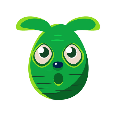 holyday: Easter Egg Shaped Scared Green Easter Bunny Colorful Girly Religious Holiday Symbol Emoji. Adorable Rabbit As Christian Holyday Traditional Decoration Vector Element.