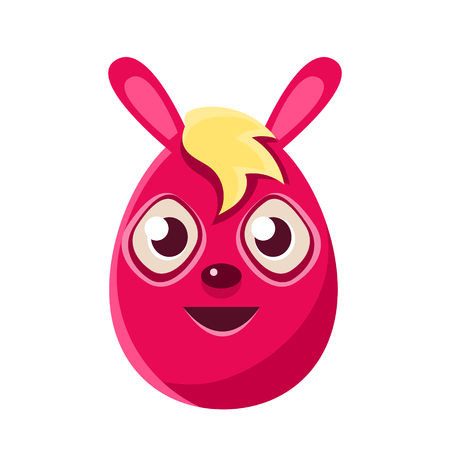 Easter Egg Shaped Pink Easter Bunny With Blond Fringe Colorful Girly Religious Holiday Symbol Emoji. Adorable Rabbit As Christian Holyday Traditional Decoration Vector Element. Illustration