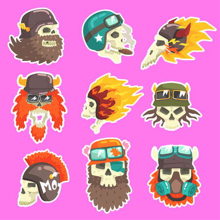 scull: Colorful Scull Stickers With War And Biker Culture Attributes Set Of Vector Icons. Collection Of Creepy Dead Head Prints Cool Cartoon Illustrations.