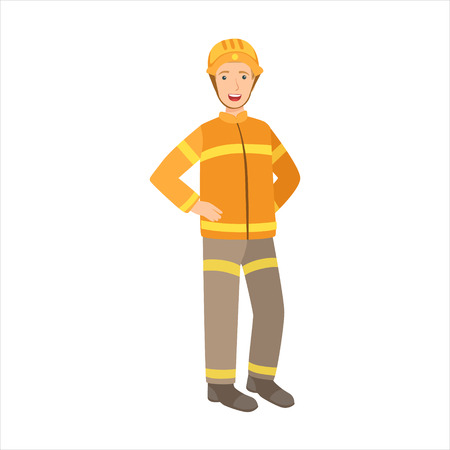 Man Firefighter, Part Of Happy People And Their Professions Collection Of Vector Characters. Professional Person And Job Attributes And Outfit Cartoon Illustration.