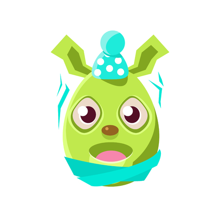 holyday: Easter Egg Shaped Green Easter Bunny Schievering With Cold Colorful Girly Religious Holiday Symbol Emoji. Adorable Rabbit As Christian Holyday Traditional Decoration Vector Element. Illustration