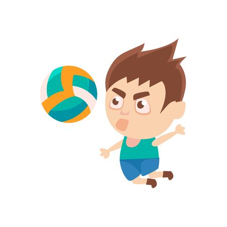 Boy Sportsman Playing Volleyball Part Of Child Sports Training Series Of Vector Illustrations. Cute Kid Character And Sportive Practice Cartoon Isolated Icon.