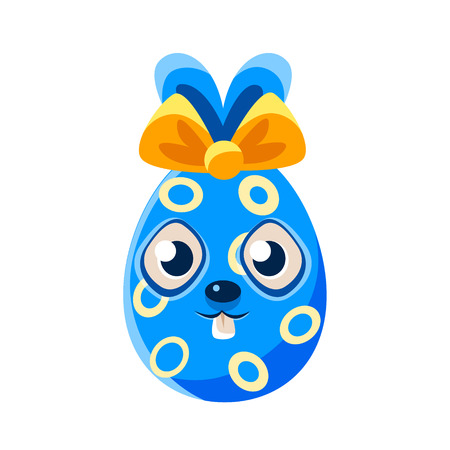 holyday: Easter Egg Shaped Blue Easter Bunny With Bow Colorful Girly Religious Holiday Symbol Emoji. Adorable Rabbit As Christian Holyday Traditional Decoration Vector Element.