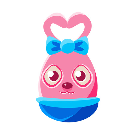 Easter Egg Shaped Pink Easter Bunny With Bow Colorful Girly Religious Holiday Symbol Emoji. Adorable Rabbit As Christian Holyday Traditional Decoration Vector Element.