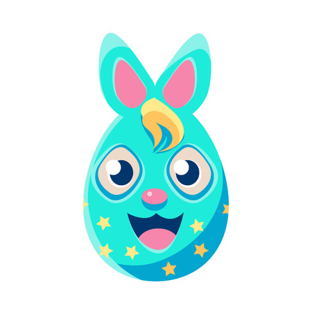 holyday: Easter Egg Shaped Blue Polka-Dotted Easter Bunny Colorful Girly Religious Holiday Symbol Emoji. Adorable Rabbit As Christian Holyday Traditional Decoration Vector Element. Illustration
