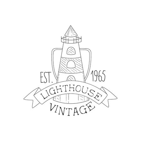 lighthouse vintage sea and nautical symbol hand drawn sketch Concrete Beam lighthouse vintage sea and nautical symbol hand drawn sketch label template part of marine emblem