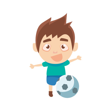Jongen Sportsman Voetballen Part Of Child Trainen serie vector illustraties. Cute Kid karakter en Sportive Practice Cartoon geïsoleerd Icon.