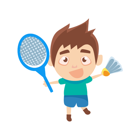 Boy Sportsman Playing Badminton Part Of Child Sports Training Series Of Vector Illustrations. Cute Kid Character And Sportive Practice Cartoon Isolated Icon.