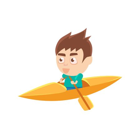 Boy Sportsman Kayaking Part Of Child Sports Training Series Of Vector Illustrations. Cute Kid Character And Sportive Practice Cartoon Isolated Icon.
