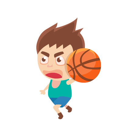 offence: Boy Sportsman Playing BasketBall Part Of Child Sports Training Series Of Vector Illustrations. Cute Kid Character And Sportive Practice Cartoon Isolated Icon.