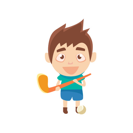 Boy Sportsman Playing Hockey On Grass Part Of Child Sports Training Series Of Vector Illustrations. Cute Kid Character And Sportive Practice Cartoon Isolated Icon.