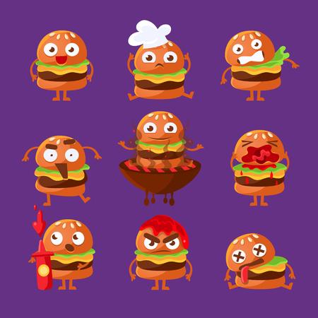 Burger fast food sandwich Cartoon vermenselijkte Character Emoji Sticker Set Van Vector Illustraties