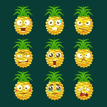 Ananas Cartoon Emoji Portaraits Fith Verschillende Emotionele Facial Expressiona Reeks Cartoon Stickers