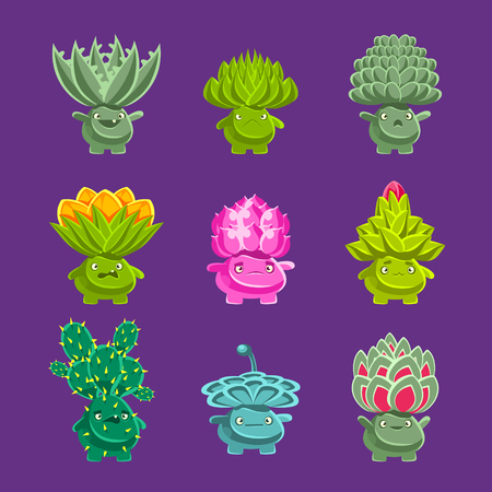 vegetation: Alien Fantastic Plant Characters With Succulent Vegetation And Humanized Root With Friendly Faces Emoji Stickers Set