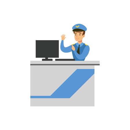 Customs Officer Monitoring Luggage Security Scan, Part Of Airport And Air Travel Related Scenes Series Of Vector Illustrations Vectores