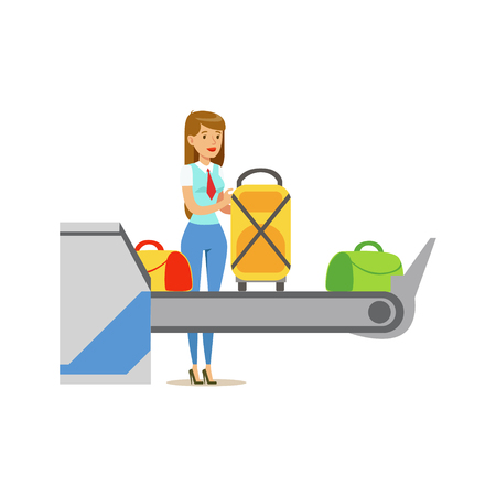 Woman Checking Scanned Luggage On Security Checkup Feed Belt, Part Of Airport And Air Travel Related Scenes Series Of Vector Illustrations