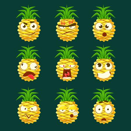 Ananas Cartoon Emoji Portaraits Fith Verschillende Emotionele Gezichts Expressiona Collectie Cartoon Stickers
