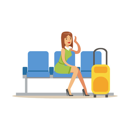 Woman Waiting For Her Flight In Lobby Part Of Airport And Air Travel Related Scenes Series Of Vector Illustrations