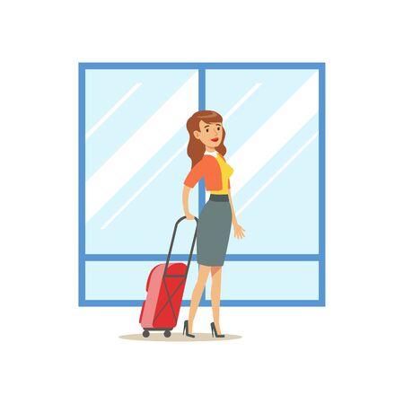 Mujer que llega con la maleta grande, parte del aeropuerto y el aire viajan escenas relacionadas Serie de ilustraciones vectoriales Ilustración de vector