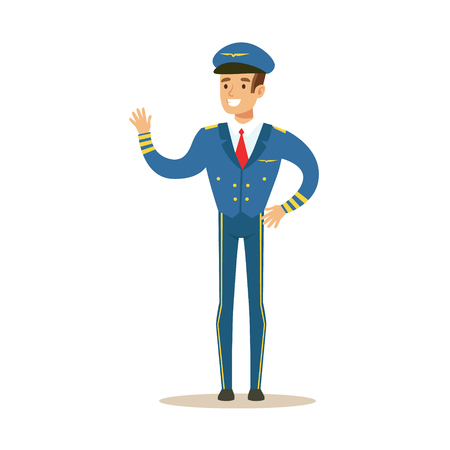 airlines: Commercial Airlines Pilot In Uniform, Part Of Airport And Air Travel Related Scenes Series Of Vector Illustrations