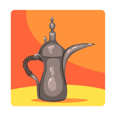 Ancient Oil Lamp Famous Touristic Attraction Of United Arab Emirates. Traditional Tourism Symbol Of Arabic Country
