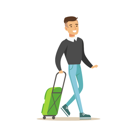 people travelling: Man Arriving With Green Suitcase, Part Of Airport And Air Travel Related Scenes Series Of Vector Illustrations