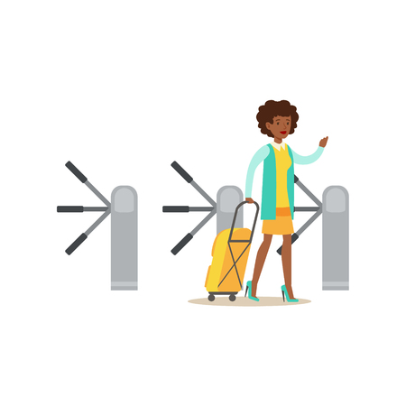 Woman Passing Turnstile With Suitcase, Part Of Airport And Air Travel Related Scenes Series Of Vector Illustrations
