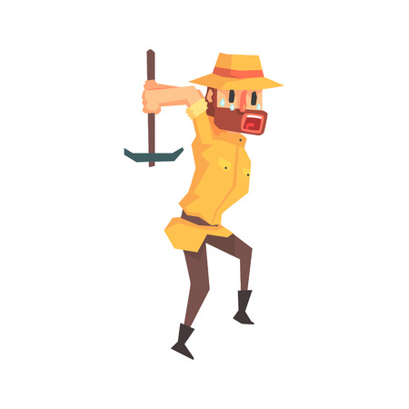Adventurer Archeologist In Outfit And Hat Working With Pick Axe Illustration From Funny Archeology Scientist Series
