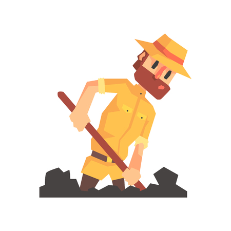 Adventurer Archeologist In Outfit And Hat Digging The Ground Illustration From Funny Archeology Scientist Series