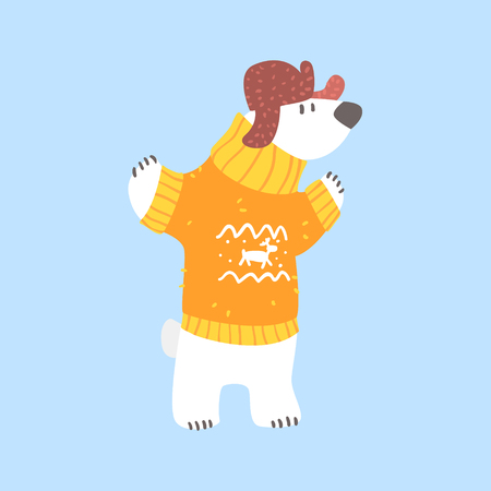 flaps: Polar White Bear In Sweater And Cap With Ear Flaps, Arctic Animal Dressed In Winter Human Clothes Cartoon Character Illustration