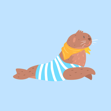 Seal In Sailor Shirt And Scarf, Arctic Animal Dressed In Winter Human Clothes Cartoon Character