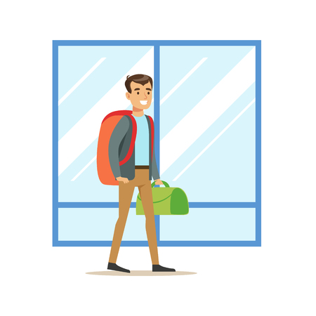 arriving: Guy Arriving WIth Big Backpack And Handbag, Part Of Airport And Air Travel Related Scenes Series Of Vector Illustrations Illustration