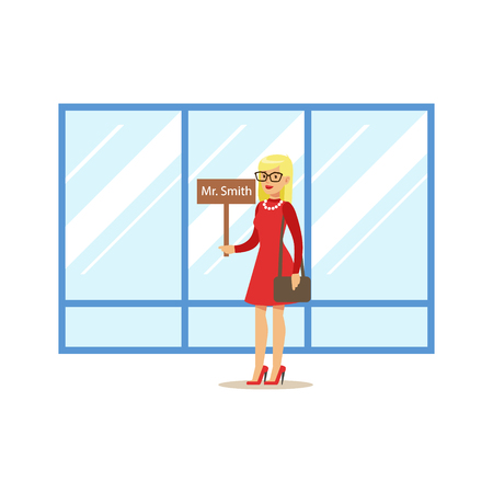 Tourist Guide With Name Sign Waiting For Guest Arrival, Part Of Airport And Air Travel Related Scenes Series Of Vector Illustrations Vektorové ilustrace