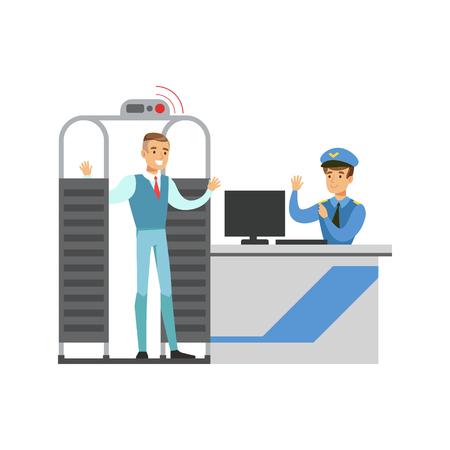 Full Body Scan In Security Check, Part Of Airport And Air Travel Related Scenes Series Of Vector Illustrations