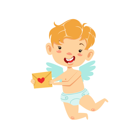 Boy Baby Cupid Delivering Love Letter, Winged Toddler In Diaper Adorable Love Symbol Cartoon Character