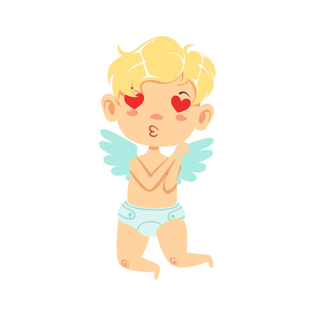 Boy Baby Cupid In Love, Winged Toddler In Diaper Adorable Love Symbol Cartoon Character