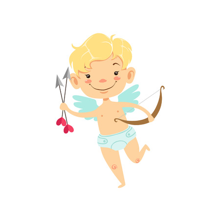 Boy Baby Cupid With Arrows And Bow, Winged Toddler In Diaper Adorable Love Symbol Cartoon Character Illustration