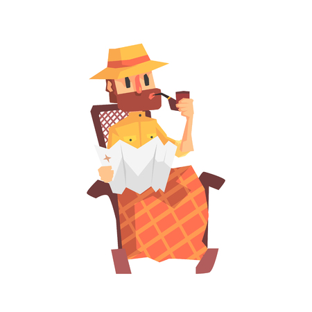 Adventurer Archeologist In Outfit And Hat Smoking In Rocking Chair Illustration From Funny Archeology Scientist Series