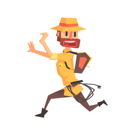 Adventurer Archeologist In Outfit And Hat Running Away Illustration From Funny Archeology Scientist Series. Cartoon Male Indiana Jones Style Tombraider Character Vector Drawing. Illustration