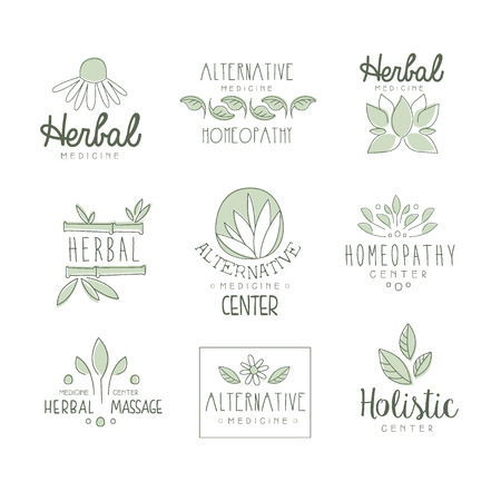 oriental medicine: Alternative Medicine Center With Oriental Herbal Treatment And Holistic Massage Procedures Set OF Label Templates