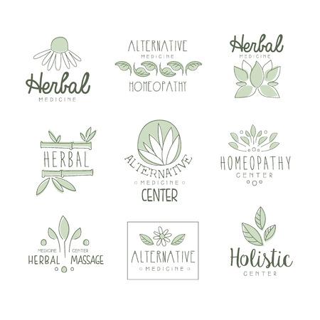 oriental massage: Alternative Medicine Center With Oriental Herbal Treatment And Holistic Massage Procedures Set OF Label Templates